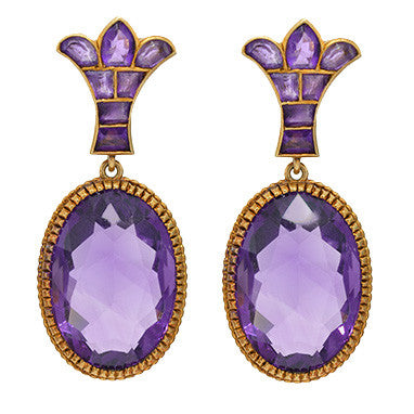 Retro 18kt Rose Gold & Amethyst Clip-On Earrings