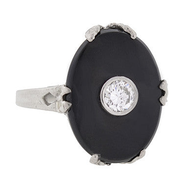 Art Deco 14kt White Gold, Onyx & Diamond Ring