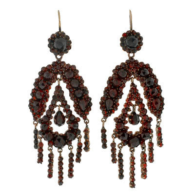 Victorian Gilted Bohemian Garnet Dangling Earrings