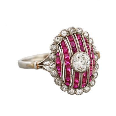 Edwardian 14kt & Platinum Diamond & Natural Ruby Ring