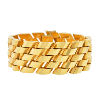 Late Retro 18kt Gold Heavy Faceted Link Bracelet