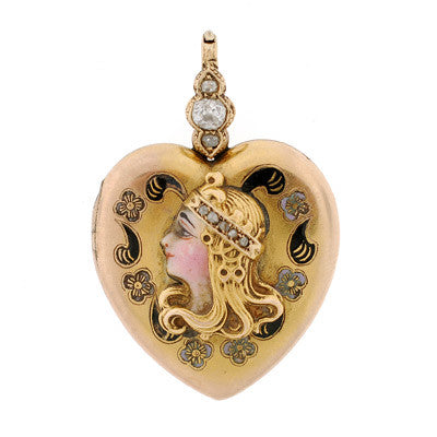Victorian 15kt Enamel Locket w/ Raised Ladies Face Motif