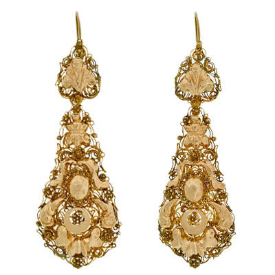 Georgian Huge 14kt Cantile Wirework Day & Night Earrings