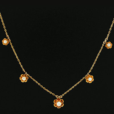 Victorian 14kt Buttercup 5 Stone Diamond Necklace