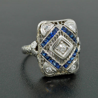 Edwardian 18kt White Gold Diamond & Sapphire Ring