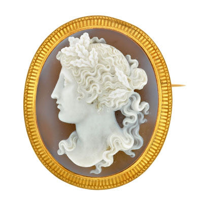 Victorian Large English 18kt Carved Stone Cameo Pin