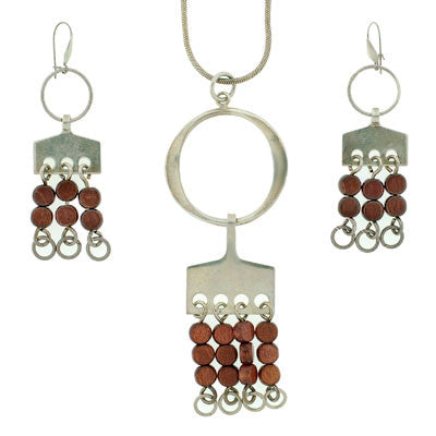 A.G. EKER Vintage Sterling + Wood Earring / Necklace Set
