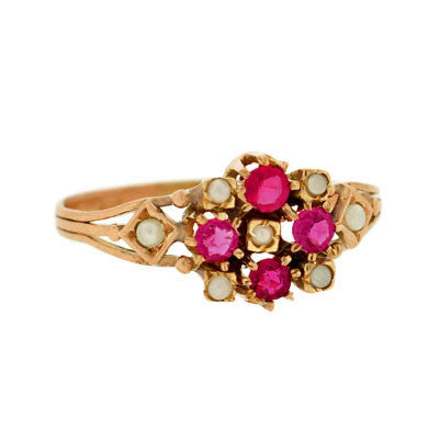 Victorian 14kt Gold Ruby & Pearl Cluster Ring
