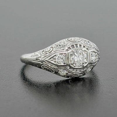 Art Deco 18kt Diamond Engagement Ring .50ct