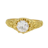 Victorian Style 18kt Diamond Engagement Ring .98ct