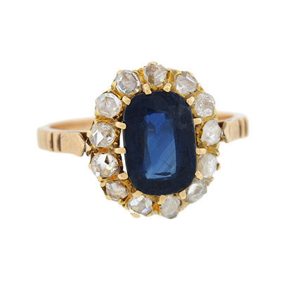 Victorian 14kt Natural Sapphire & Diamond Ring 2.35ct