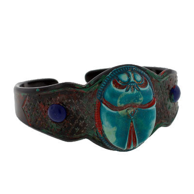 Art Deco Carved & Painted Celluloid Scarab Cuff Bracelet