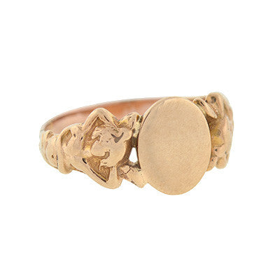 Victorian 14kt Gold Signet Band with Mermaids