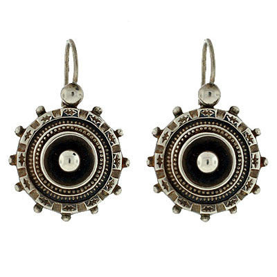 Victorian Sterling Silver Hanging Earrings w/Beadwork