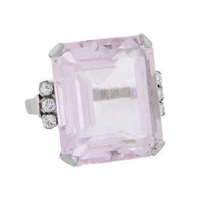Estate 14kt Morganite & Diamond Cocktail Ring 30ctw
