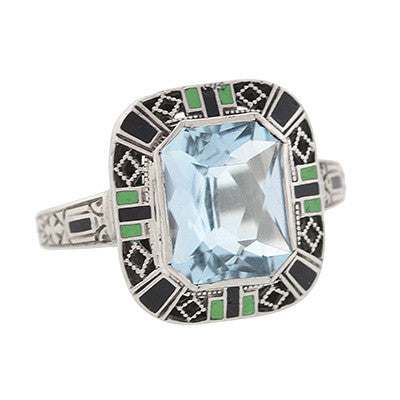 Art Deco 14kt Aquamarine & Enameled Ring