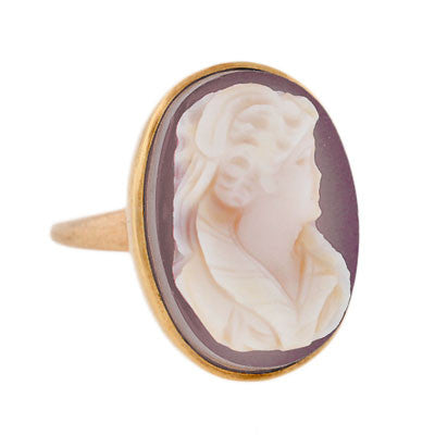 Victorian 14kt Yellow Gold & Sardonyx Cameo Ring
