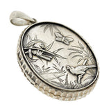 Victorian Sterling Silver Raised Bird & Butterfly Locket