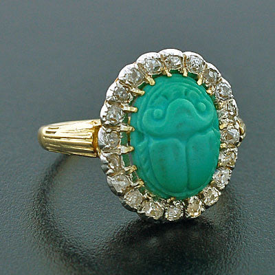 Edwardian Platinum & 18kt Diamond & Turquoise Scarab Ring