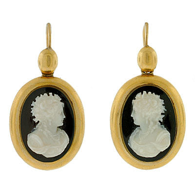 Victorian 14kt Hand Carved Hard Stone Cameo Earrings