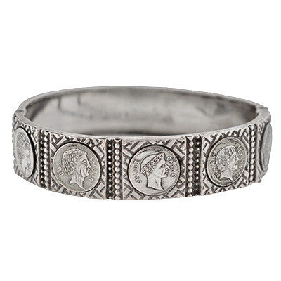 Victorian Sterling Roman Coin Bangle Bracelet