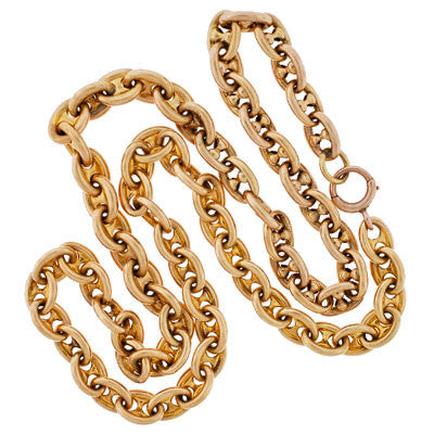 "Victorian 14kt Gold ""Gucci Style"" Anchor Link Chain Necklace"
