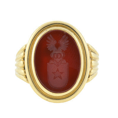 Victorian 14kt Carnelian Intaglio Family Crest Signet Ring