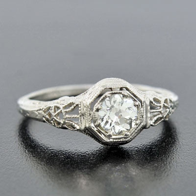 Art Deco 18kt Diamond Engagement Ring .51ct