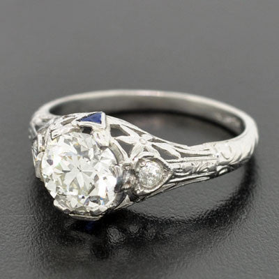 Art Deco Platinum Diamond & Sapphire Engage Ring 1.29ct