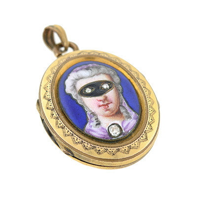 Victorian Gold Filled Enamel & Diamond Locket