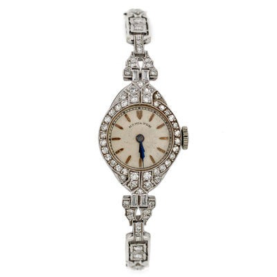 HAMILTON Art Deco Platinum Diamond Link Watch