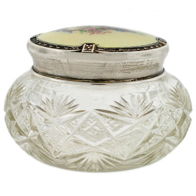 Late Victorian Cut Crystal Jar w/Sterling & Enamel Lid
