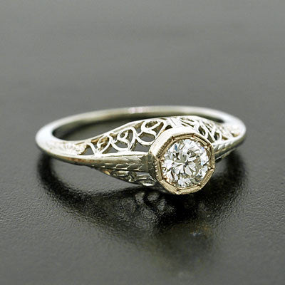 Art Deco 18kt Diamond Engagement Ring .43ctw