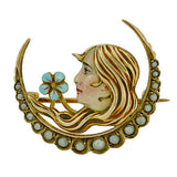 Victorian 14kt Enameled Pin w/ Pearls Woman Motif