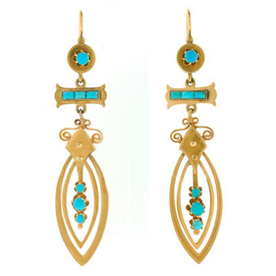 Victorian 14kt Yellow Gold & Turquoise Long Hanging Earrings