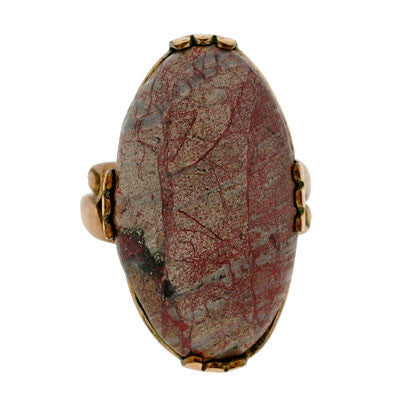 Art Deco Gold Filled & Petrified Wood Ring