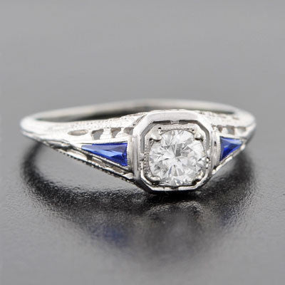 Art Deco 18kt Diamond & Sapphire Engage Ring .55ct