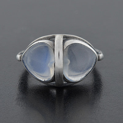 Art Nouveau Sterling Double Moonstone Heart Ring