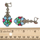 Art Deco Carved Glass, Marcasite & Sterling Earrings