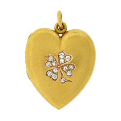 Victorian 14kt Diamond 4 Leaf Clover Heart Locket