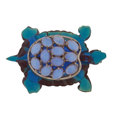 Vintage Large Bakelite & Faux Chalcedony Tortoise Pin