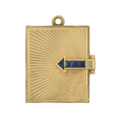 Retro 14kt & Sapphire Moveable Photo Album Locket Charm