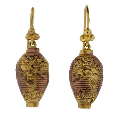 Victorian Shakudo 14kt Mixed Metals Earrings