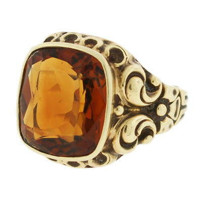 Victorian 14kt Yellow Gold & Citrine Repousse Ring