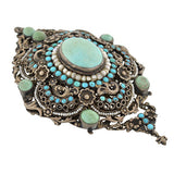 Arts & Crafts Era Hungarian Silver Gilt Turquoise & Pearl Pin/Pendant
