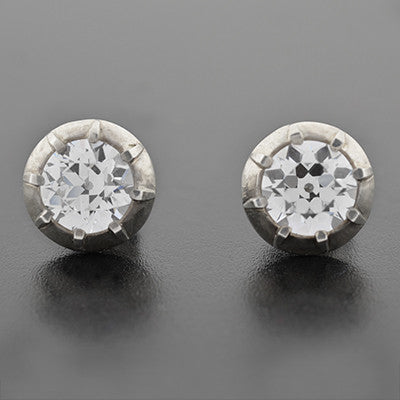 Art Deco Sterling Silver & French Paste Stud Earrings