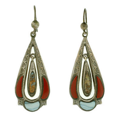 Victorian Sterling Silver & Scottish Agate Earrings