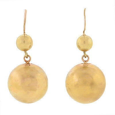 Retro 14kt Yellow Gold Ball Dangling Earrings