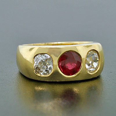 Late Victorian 18kt Gold & Diamond & Ruby Gypsy Ring