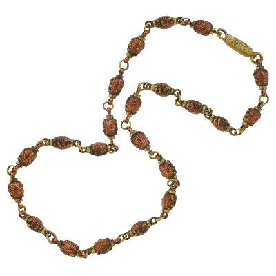 Victorian 14kt Mixed Metals Shakudo Urn Bead Necklace